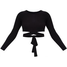 Black Cross Front Longsleeve Crop Top ($18) ❤ liked on Polyvore featuring tops, long sleeve jersey, crossover front top, cut-out crop tops, jersey top and cross front top
