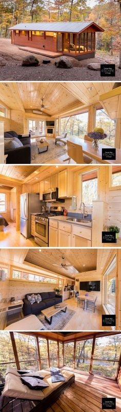 The Premiere Cabin. Available for order from ESCAPE Homes! The Premiere Cabin. Available for order from ESCAPE Homes! Tiny House Village, Tiny House Cabin, Tiny House Living, Tiny House Design, Cabin Homes, Small House Plans, Log Homes, Tiny House Family, Living Room