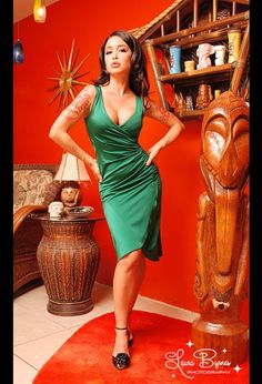The Greta Dress in Emerald Green by Pinup Couture $84.00 from pinupgirlclothing.com