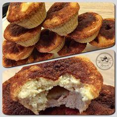 Homemade High-Protein Cinnamon Muffins...cauliflower, vanilla protein, peanut butter, eggs, coconut oil, stevia, egg white, ghee, cinnamon