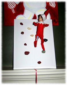 Elf on the Shelf is Rock climbing