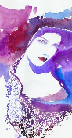 Vivienne Westwood Model - watercolor by ©Cate Parr / SilverRidgeStudio (via Etsy) Watercolor Art Face, Watercolor Fashion, Watercolor Portraits, Watercolor Illustration, Watercolor Paintings, Original Paintings, Art Pictures, Art Images, Muse Art