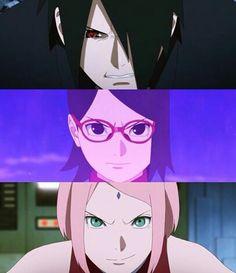 The connection they have can never be broken Sasuke Sakura Sarada, Boruto And Sarada, Anime Naruto, Naruto Shippuden, Hinata, Naruto Family, Boruto Naruto Next Generations, Ultimate Naruto, Naruto Episodes