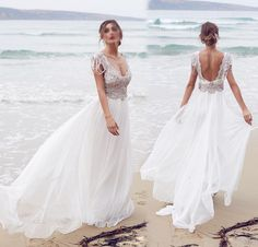 New Elegant Cap Sleeve Crystal Bead Wedding Dresses  Chiffon Summer Beach Bride