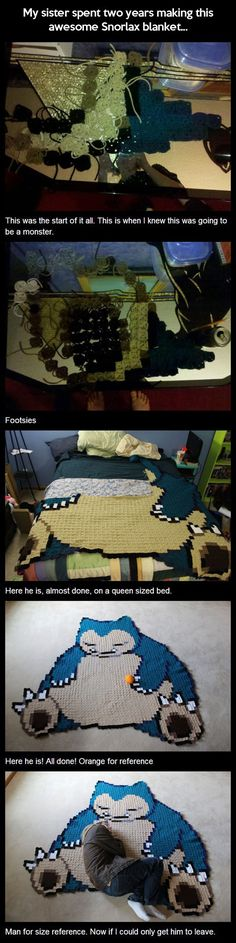 Queen size Snorlax… Incredible knit/crocheting