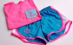 Monogrammed Chevron Pocket Tee and Running Shorts-Youth Sizes- New shipment-All sizes available