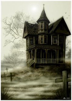 Heres a haunted house done with photoshop, digital camera & a wacom tablet. I'm really pleased with the result as I didn't spend that long on it.