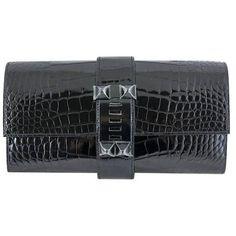 Hermes So Black Medor Crocodile Clutch Purse Rare ($27,875) ❤ liked on Polyvore featuring bags, handbags, clutches, hermes pochette, hermes purse, crocodile handbags, croco embossed handbags and croc handbags
