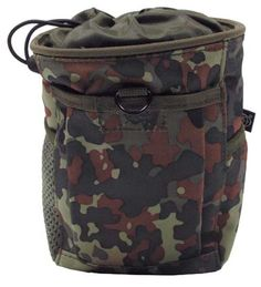 These German military pouches are great for customizing your rack or any of your military gear. MOLLE gear attaches easily to any other MOLLE gear. German Flecktarn Camouflage Bullet Pouch perfect for policing brass.