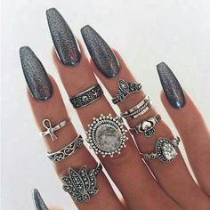 Boho Spirit Rings - Meyfflin Punk Knuckle Ring Set Fashion Midi Finger Rings for Women Boho Jewelry Accessories Vintage Bague Femme Set from BohoGipsy,Store Gorgeous Nails, Love Nails, How To Do Nails, Pretty Nails, My Nails, Amazing Nails, Fancy Nails, Nail Art Designs, Nagel Gel