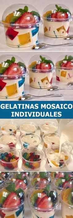 """Individual Jellies Mosaic and 3 milks for business or dessert table """"By Creaciones Prin gelatin Party Food Buffet, Lunch Buffet, Jello Recipes, Dessert Recipes, Desserts, Dessert Bars, Dessert Table, Gelatina Jello, Lunch To Go"""