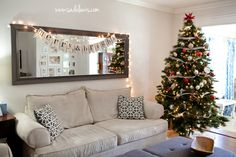 Add a wide mirror above Mom's couch to make the room look bigger and brighter.                                                                                                                                                                                 More