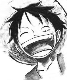 anime boy, luffy, one piece One Piece Anime, One Piece Fanart, One Piece Luffy, Black And White One Piece, Black And White Drawing, Smile Drawing, Manga Drawing, Manga Art, Anime Art