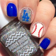 Cute baseball mani.  Just need an old english D instead of LA.