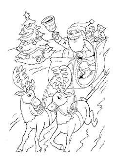 Père noël agité dans les airs avec son traineau de Rennes et sa cloche au dessus d'un sapin de noël empressé de faire la livraison des cadeaux, image à colorier
