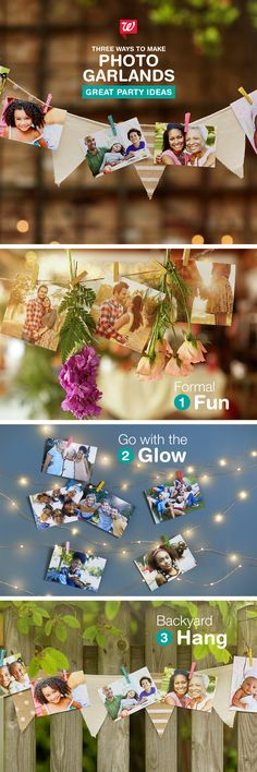Three ways to set the scene for your summer soirée. Whether you're hosting a formal affair or a backyard bash, you can easily create a photo garland to match your party's theme. See our Smile Blog for more inspiration.