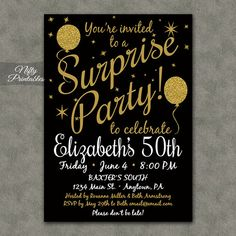 Surprise Birthday Party Invitation Template New Surprise Party Invitations Printable Black & Gold Surprise Birthday Party Invitations Free, Anniversary Party Invitations, 60th Birthday Party, Birthday Invitation Templates, Invitation Wording, Invitation Ideas, Happy Birthday, Invitation Design, Birthday Cakes