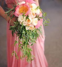 Neha's peony & garden rose bouquet with jasmine vines and eucalyptus  Flowers by Hey Look