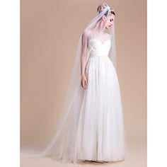 Wedding+Veil+One-tier+Chapel+Veils+Cut+Edge+–+AUD+$+21.44