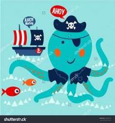 Cute octopus swimming with red fishes and the pirate boat. Ahoy. Vector design for children. Design elements for kids.
