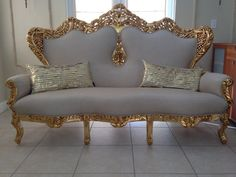 Items similar to SOLD* Antique French Rococo Sofa Couch Throne Shabby Chic Gold Leaf Gilded Beige Upholstering Handmade Big Carved Floral on Etsy Pallet Furniture, Furniture Decor, Furniture Design, Victorian Furniture, French Furniture, Antique Furniture, Sofa Design, French Sofa, Pillows