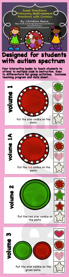 Students with autism will love these interactive books teaching following directions with cookies. These 4 books, teaching program and data sheet are designed to help teach students with autism the critical receptive language skills of responding to multiple cues in reading and educational materials. Download the preview for more info.  $9 #sweetdirections