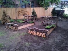Here are the coolest rustic raised garden beds recently built at a garden in the Bronx. Love the rustic wood headboards and footboards. raised gardens, rais garden, rais bed, garden idea, outdoor flower, flower beds, flowers, mother nature, raised garden beds