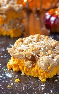 Gooey pumpkin cake topped with a delicious crumble topping.