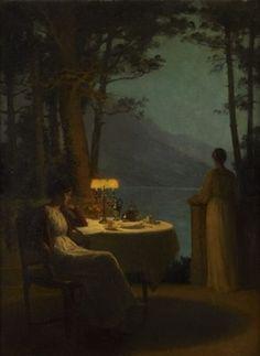 Marcel Rieder (French, 1851–1925) Title: Deux jeunes femmes dînant sur une terrasse