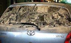 Like everyone else Scott Wade sees a dirty car and he just can't resist drawing on it. But his artworks are unusual. You may thing why? Answer is simple, his design tools are some brushes and dirty cars. He create amazing artworks on dusty cars windows. So if near you would be Scott Wade and your car is pretty dirty, on your window would be written Einstein, Mona Lisa or some other amazing artwork.