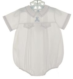 NEW Feltman Brothers White Pintucked Romper with Blue Teddy Bear Embroidery $50.00