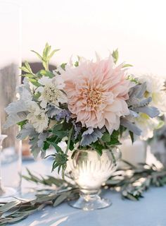 Pretty wedding flowers to go with light blue dresses.