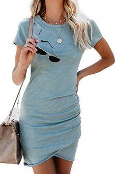 9d81ed422000 Walant Womens Short Sleeve Sheath Dress Solid Color Irregular Hem Summer  Bodycon Mini Dress Features  Seasons  Summer StyleCasual Size  information(Please ...