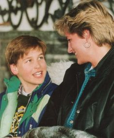 Prince William and his mother Princess Diana..