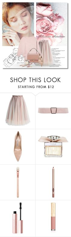 """""""Summer Sweetness ... 2017"""" by greta-martin ❤ liked on Polyvore featuring Grafico, Chicwish, Chloé, Charlotte Tilbury, Too Faced Cosmetics, Dolce&Gabbana, Pink, romantic, girly and peonies"""