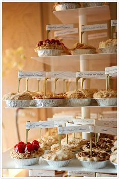 a fall wedding dessert bar with cute and tasty mini pies is right what you need to make your wedding cozier - Weddingomania Mini Quiches, Mini Pies, Mini Cheesecakes, Dessert Bars, Buffet Dessert, Dessert Stand, Dessert Tables, Pi Day Wedding, Wedding Ideas