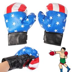 [USD2.36] [EUR2.23] [GBP1.73] PU Leather American Flag Boxing Gloves