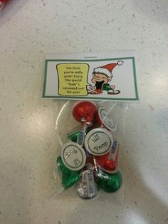 Elf poop hershey kisses and circle post it labels