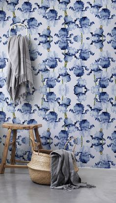 30% OFF from Floral wallpaper, Iris removable wallpaper, Dots pattern, Floral decor, BW036