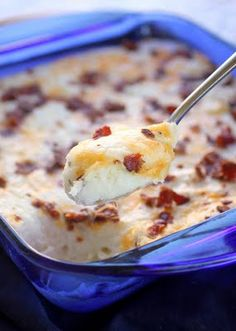 Loaded Mashed Potato Casserole with Cream Cheese, Sour Cream, Cheddar Cheese, and Bacon