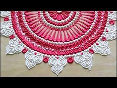 Beautiful pink & white navratri rangoli designs l diwali rangoli using 2 colours l रंगोली रचना Very Easy Rangoli Designs, Rangoli Designs Latest, Rangoli Designs Flower, Free Hand Rangoli Design, Rangoli Border Designs, Small Rangoli Design, Rangoli Patterns, Colorful Rangoli Designs, Rangoli Ideas