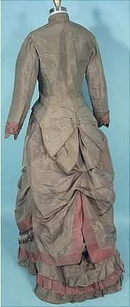 Wedding Gown c1883/1884  Olive Colored Silk Taffeta  For more views, see other pins.