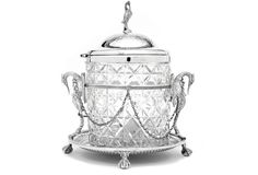 Fine round crystal and silverplate biscuit box (or cookie jar) on stand of nickel silver (EPNS), circa 1865, Made by Linegar, handblown and hand-cut crystal on stand with original chains. Cast claw & ball feet, cast supports. Bar pierced apron with fine beading.