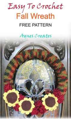 Crochet Wreath, Crochet Fall, Free Crochet, Beginner Crochet, Halloween Crochet, Fall Patterns, Easy Crochet Patterns, Knitting Patterns, Crochet Ideas