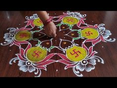 Rangoli Borders, Rangoli Border Designs, Rangoli Designs Images, Rangoli Designs With Dots, Beautiful Rangoli Designs, Eid Mehndi Designs, Special Rangoli, Creative Food Art, Indian Rangoli