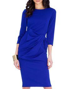 Royal blue pleated waist dress Sale - Goddiva Sale