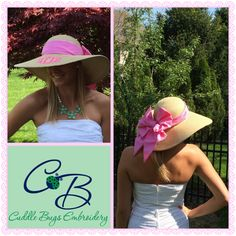 Derby season is here! Great floppy hat with a big seersucker bow in back! Gorgeous...terry@cuddlebugsembroidery.com to order