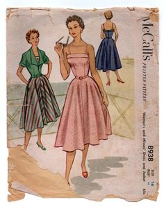 "1950's McCall's Sundress with Spaghetti Straps and Bolero Jacket Pattern - Bust 34"" - No. 8938 by backroomfinds on Etsy"