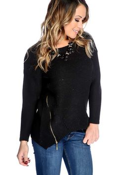 #FashionVault #kandy kouture #Women #Tops - Check this : Black Long Sleeves Zipper Accent Open Knitted Sweater for $44.99 USD instead of $14.99 #OnSale