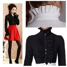 Ladies High Neck Frilly Womens Vintage Victorian Ruffle Top Shirt Blouse #GL #Blouse